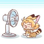 1girl ^_^ animal_ear_fluff animal_ears animal_print arm_support between_legs bow bowtie chibi closed_eyes elbow_gloves electric_fan extra_ears from_side full_body gloves hand_between_legs inukoro_(spa) kemono_friends lowres no_nose open_mouth orange_hair print_bow print_gloves print_legwear print_neckwear print_skirt serval_(kemono_friends) serval_ears serval_print serval_tail short_hair sitting skirt solo striped_tail sweat tail white_background wind |3