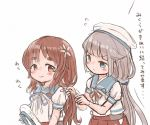 2girls blue_sailor_collar brown_eyes brown_hair commentary_request flower gloves green_eyes grey_hair hair_flower hair_ornament hat hat_removed headwear_removed hip_vent kantai_collection long_hair low_twintails matching_hairstyle mikura_(kantai_collection) multiple_girls pleated_skirt puffy_short_sleeves puffy_sleeves red_skirt sailor_collar sailor_hat sailor_shirt shirt short_sleeves simple_background skirt twintails upper_body white_background white_gloves white_headwear white_shirt wss_(nicoseiga19993411) yashiro_(kantai_collection)