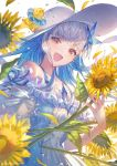 1girl :d artist_name bangs bare_shoulders bird blue_dress blue_hair blue_ribbon blunt_bangs brown_eyes collarbone commentary_request dress duck duckling eyebrows_visible_through_hair flower frilled_dress frills hat holding holding_flower innertube lize_helesta multicolored_hair nijisanji open_mouth ribbon signature silver_hair simple_background smile solo sun_hat sunflower sunflower_petals two-tone_hair upper_body virtual_youtuber wadanaka water_drop white_background white_headwear