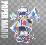 1boy backpack bag beco_(100me) black_footwear checkered checkered_background copyright_name full_body grey_jacket headphones highres huey_(paper_mario) jacket male_focus mario_(series) no_mouth one_eye_closed outline oversized_clothes paint_splatter paper_mario paper_mario:_color_splash personification scissors shoes shorts single_vertical_stripe sneakers solo tag white_hair white_outline
