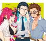 1girl 2boys ahoge beard black_hair blue_eyes brown_hair chest facial_hair facial_scar fate/extra fate/grand_order fate_(series) francis_drake_(fate) gradient_hair hand_on_eyewear long_hair long_sleeves looking_at_viewer multicolored_hair multiple_boys muscle napoleon_bonaparte_(fate/grand_order) nikola_tesla_(fate/grand_order) open_clothes open_mouth pants pectorals pink_hair scar shitappa simple_background smile