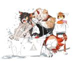aak_(arknights) animal_ears arknights bangs bathing bathtub black_hair cat_ears dog_ears furry glasses highres holding horns hung_(arknights) multicolored_hair orange_eyes orange_hair rhodes_island_logo short_hair simple_background single_horn streaked_hair tail tiger_ears tiger_girl waai_fu_(arknights) wei_yenwu_(arknights) wet white_hair yuyanshu13