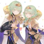 1boy 1girl anniversary belt black_shorts byleth_(fire_emblem) byleth_(fire_emblem)_(female) byleth_(fire_emblem)_(male) cape closed_mouth confetti copyright_name dagger eotyq58d6do16cs fire_emblem fire_emblem:_three_houses green_eyes green_hair open_mouth pantyhose sheath sheathed short_hair shorts simple_background smile tiara weapon white_background
