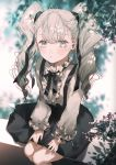 1girl aino_pekonen bangs black_bow black_skirt blue_eyes blurry blurry_background bow closed_mouth commentary_request depth_of_field eyebrows_visible_through_hair feet_out_of_frame grey_hair grey_shirt hair_between_eyes highres kokoro_navi long_hair long_sleeves looking_at_viewer majamari puffy_long_sleeves puffy_sleeves shirt sitting skirt sleeves_past_wrists solo suspender_skirt suspenders twintails