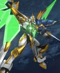 aiming aiming_at_viewer code_geass code_geass:_fukkatsu_no_lelouch commentary energy_wings flying gun highres holding holding_gun holding_weapon lancelot_sin looking_at_viewer looking_down mecha no_humans solo tsubasansan weapon wings