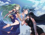 2girls adjusting_eyewear anklet armor armored_dress bare_legs barefoot bespectacled black_cloak black_legwear black_shorts blue_dress blue_eyes blue_hair blue_sky blush breasts byleth_(fire_emblem) byleth_(fire_emblem)_(female) cloak closed_mouth clouds cloudy_sky commentary cowboy_shot day diadem dress fire_emblem fire_emblem:_three_houses floating full_body glasses green_eyes green_hair hair_between_eyes highres jewelry long_hair looking_at_viewer medium_breasts medium_hair midriff multiple_girls navel outdoors pantyhose parted_lips red-framed_eyewear ribbon semi-rimless_eyewear short_shorts shorts sky smile soles sothis_(fire_emblem) thighs tugo vambraces