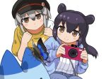2girls alternate_costume bag bangs black_hair black_headwear blush_stickers brown_eyes bug butterfly camera casual commentary_request eyebrows_visible_through_hair eyes_visible_through_hair hair_between_eyes hat highres holding holding_camera insect kemono_friends long_hair long_sleeves lucky_beast_(kemono_friends) malayan_tapir_(kemono_friends) multiple_girls rinx simple_background smile southern_tamandua_(kemono_friends) white_background white_hair