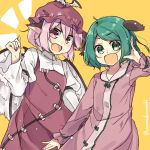animal_ears brown_dress brown_headwear choujuu_gigaku commentary dress feathered_wings green_eyes green_hair hand_up hat highres kasodani_kyouko kurasaki_cosmos long_sleeves looking_at_viewer mob_cap mystia_lorelei open_mouth pink_dress pink_eyes pink_hair short_hair smile touhou twitter_username upper_body winged_hat wings yellow_background