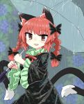 1girl animal_ears bangs black_dress black_sleeves bow braid cat_ears cat_tail chups dress extra_ears eyebrows_visible_through_hair fang food frilled_sleeves frills fruit grapes green_frills hair_bow highres holding holding_umbrella kaenbyou_rin long_sleeves looking_at_viewer multiple_tails open_mouth outdoors rain red_eyes red_nails red_neckwear redhead short_hair smile solo tail touhou transparent transparent_umbrella twin_braids two_tails umbrella upper_body wide_sleeves