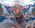 1girl black_bow black_ribbon blue_bow blue_kimono bow cherry_blossoms flower frilled_kimono frills hat highres japanese_clothes joniko1110 kimono long_sleeves mob_cap obi pink_eyes pink_hair ribbon saigyouji_yuyuko sash short_hair sinking submerged touhou triangular_headpiece underwater water wavy_hair wide_sleeves