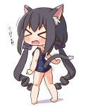 >_< 1girl absurdres animal_ear_fluff animal_ears ass bangs bare_arms bare_legs bare_shoulders barefoot black_hair blue_swimsuit blush bow breasts cat_ears cat_girl cat_tail chibi closed_eyes eyebrows_visible_through_hair fang from_behind full_body green_eyes hair_between_eyes hair_bow hana_kazari highres karyl_(princess_connect!) long_hair low_twintails one-piece_swimsuit open_mouth princess_connect! princess_connect!_re:dive purple_bow ringlets school_swimsuit shadow small_breasts solo swimsuit tail translation_request twintails very_long_hair wavy_mouth white_background