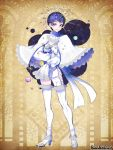 1boy blue_eyes blue_hair cape copyright_name full_body high_heels holding_planet male_focus morino_bambi pandora_party_project parted_lips planet simple_background sleeves_past_fingers sleeves_past_wrists smile thigh-highs white_cape white_legwear yellow_background