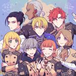 3girls 5boys annette_fantine_dominic anniversary ashe_ubert black_hair blonde_hair blue_eyes bow brown_eyes closed_eyes closed_mouth crossed_arms dark_skin dark_skinned_male dedue_molinaro dimitri_alexandre_blaiddyd earrings felix_hugo_fraldarius fire_emblem fire_emblem:_three_houses from_behind from_side garreg_mach_monastery_uniform green_eyes grey_hair hair_bow highres holding hood hood_down ingrid_brandl_galatea jewelry long_hair long_sleeves looking_to_the_side low_ponytail mercedes_von_martritz multiple_boys multiple_girls noshima open_mouth orange_hair redhead short_hair smile sylvain_jose_gautier twintails uniform