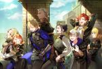 3girls 5boys annette_fantine_dominic arms_up ashe_ubert belt black_hair blonde_hair blue_cape blue_eyes blue_legwear book bow cape closed_eyes closed_mouth dark_skin dark_skinned_male dedue_molinaro dimitri_alexandre_blaiddyd earrings felix_hugo_fraldarius fire_emblem fire_emblem:_three_houses from_side garreg_mach_monastery_uniform green_eyes grey_hair grin hair_bow highres holding holding_book hood hood_down ingrid_brandl_galatea jewelry kkuonn19 long_hair long_sleeves low_ponytail mercedes_von_martritz multiple_boys multiple_girls orange_hair redhead scabbard sheath sheathed short_hair smile sword sylvain_jose_gautier twintails uniform weapon