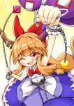1girl aki_chimaki bangs belt bow bowtie chain collarbone cube cuffs eyebrows_visible_through_hair fangs gourd gradient gradient_background hair_bow horn_ornament horn_ribbon horns ibuki_suika long_hair looking_at_viewer low-tied_long_hair metal_belt one_eye_closed oni open_mouth orange_eyes orange_hair parted_bangs purple_ribbon purple_skirt red_bow red_neckwear red_ribbon ribbon ribbon-trimmed_skirt ribbon_trim shackles shirt sidelocks skirt sleeveless sleeveless_shirt smile solo sphere torn_clothes torn_sleeves touhou white_shirt wrist_cuffs