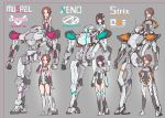 3girls bangs bare_shoulders black_gloves black_leotard blush boots brown_hair closed_mouth commentary_request covered_navel dress elbow_gloves gloves grey_background grey_footwear grey_legwear grey_leotard grin hand_on_hip hand_up headgear kopaka_(karda_nui) leotard long_hair low_twintails multiple_girls orange_eyes original parted_bangs robot simple_background sitting smile standing strapless strapless_dress thigh-highs thigh_boots twintails