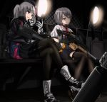 2girls acog aircraft beret cellphone cockpit crossed_legs desert_tech_mdr flip_phone girls_frontline gloves goggle55w gun hat helicopter highres interior kriss_vector mdr_(girls_frontline) multicolored_hair multiple_girls phone shoes sneakers streaked_hair submachine_gun suppressor tactical_clothes thigh-highs vector_(girls_frontline) weapon