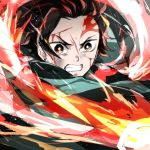 1boy black_hair blood blood_on_face fighting haori holding holding_sword holding_weapon japanese_clothes kamado_tanjirou katana kimetsu_no_yaiba lowres male_focus multicolored_hair redhead scar shumiko_(kamenokoueki) solo sword two-tone_hair upper_body weapon