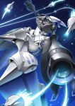 blue_eyes crossover fate/grand_order fate_(series) flying funnels fusion gamiani_zero gundam highres looking_at_viewer mecha mechanization meltryllis no_humans one-eyed qubeley space zeon zeta_gundam