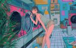 1girl bent_over black_hair green_eyes highres laundromat laundry laundry_basket looking_at_viewer medium_hair najuco_(naju0517) original pursed_lips solo tank_top thick_lips washing_machine