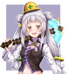 1girl :d black_shirt blush bow breasts brown_eyes commentary_request double_bun hair_ornament highres hololive kuragari long_hair long_sleeves looking_at_viewer minecraft murasaki_shion navel open_mouth pickaxe purple_background purple_bow shirt silver_hair sleeveless sleeveless_shirt small_breasts smile solo sparkle star_(symbol) twintails two-tone_background upper_body v-shaped_eyebrows very_long_hair virtual_youtuber white_background wide_sleeves