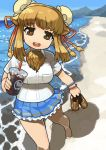1girl :d bactrian_camel_(kemono_friends) barefoot beach breast_pocket brown_eyes brown_hair bun_cover commentary_request cup day disposable_cup double_bun drinking_straw eyebrows_visible_through_hair frilled_skirt frills highres holding holding_shoes horizontal_pupils kemono_friends looking_at_viewer medium_hair open_mouth outdoors pocket rinx round_teeth sand shirt shoes shoes_removed short_sleeves skirt smile solo teeth upper_teeth water white_shirt
