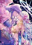 2girls armlet armor ass back bangs bikini_armor blue_shirt blue_skirt breasts circlet collar cropped_shirt earrings fate/grand_order fate_(series) floral_print hair_ribbon halo highres indian_clothes japanese_clothes jewelry kama_(fate/grand_order) kimono large_breasts long_hair long_skirt looking_to_the_side matou_sakura metal_collar midriff multiple_girls navel necklace open_clothes open_kimono parted_lips parvati_(fate/grand_order) petals pink_kimono pink_ribbon purple_hair red_eyes ribbon sagta_panggang shirt short_sleeves silver_hair skirt violet_eyes