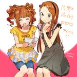 2girls anniversary black_skirt blue_shorts blush brown_eyes brown_hair closed_eyes closed_mouth collarbone dated forehead frilled_sleeves frills hair_ornament hair_scrunchie hairband holding_letter idolmaster idolmaster_(classic) long_hair minase_iori momose_(oqo) multiple_girls open_mouth orange_shirt pink_shirt reading scrunchie shirt shorts signature sitting skirt sleeveless smile takatsuki_yayoi twintails