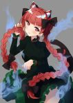 1girl animal_ear_fluff animal_ears arms_up bangs blunt_bangs blush braid breasts cat_ears cat_tail commentary cowboy_shot dress extra_ears eyebrows_visible_through_hair fang floating_clothes green_dress grey_background hair_ribbon head_tilt highres hitodama holding holding_hair juliet_sleeves kaenbyou_rin long_sleeves looking_at_viewer medium_breasts paw_pose puffy_sleeves red_eyes redhead ribbon shiny shiny_hair short_hair simple_background skin_fang smile solo standing tail touhou tsushi twin_braids