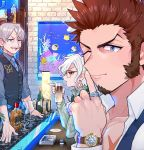 3boys beard blue_eyes chest cup drinking_glass edmond_dantes_(fate/grand_order) facial_hair fate/grand_order fate_(series) finger_to_mouth formal glasses gray_collar_(fate/grand_order) grey_hair james_moriarty_(fate/grand_order) jewelry long_hair long_sleeves looking_at_another male_focus multiple_boys muscle mustache napoleon_bonaparte_(fate/grand_order) open_mouth ring scar shitappa shushing sitting smile watch white_day