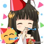 1girl ^_^ animal_ear_fluff animal_ears azur_lane bangs black_hair blunt_bangs blush closed_eyes collarbone commentary_request detached_sleeves dress emoji eyebrows_visible_through_hair fox_ears hair_ornament hand_up hat holding long_hair long_sleeves miicha nagato_(azur_lane) party_hat party_whistle pleated_dress red_dress red_headwear solo strapless strapless_dress tilted_headwear twitter_username upper_body white_background white_sleeves wide_sleeves
