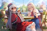 2girls alice_margatroid arm_support bendy_straw blonde_hair blue_dress blue_sky blurry blurry_background book capelet chair commentary_request cup day dress drinking drinking_glass drinking_straw eho_(icbm) flower food frilled_sleeves frills fruit hairband hat head_rest highres holding holding_cup ice ice_cube leaning_forward long_hair long_sleeves looking_at_viewer multiple_girls orange orange_slice outdoors pink_flower plant potted_plant red_capelet red_dress red_eyes red_hairband red_headwear sash shanghai_doll shinki silver_hair sitting sky summer sunglasses table teacup teapot touhou touhou_(pc-98) white_capelet wide_sleeves wooden_table yellow_eyes