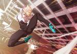 1girl \m/ ballet_slippers bodysuit building city eyebrow_piercing gwen_stacy highres marvel midair piercing short_hair sidecut silk smile solo speed_lines spider-gwen spider-man:_into_the_spider-verse spider-man_(series) spider_web spider_web_print spread_legs superhero tomoyuki_kotani