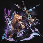 1girl absurdres armor arrow_(projectile) ass asymmetrical_gloves bangs black_background black_gloves black_legwear black_panties blue_eyes bow_(weapon) cape fingerless_gloves full_body gloves granblue_fantasy head_wings high_heels highres holding holding_weapon kotoribako long_hair looking_at_viewer magic midriff open_mouth panties pantyshot pointing smile solo song_(granblue_fantasy) teeth thigh-highs underwear upskirt weapon white_gloves