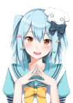 1boy :d absurdres aqua_serafuku blue_hair bow bowtie brown_eyes cardigan cardigan_vest crossdressing dog_hair_ornament double_horizontal_stripe eyebrows_visible_through_hair fang fingers_together hair_bow hands_together highres inuyama_tamaki looking_at_viewer marie_(pixiv31942978) noripro open_hands open_mouth otoko_no_ko portrait raised_eyebrows sailor_collar school_uniform serafuku short_hair simple_background smile solo two_side_up vest virtual_youtuber white_background white_cardigan white_vest yellow_neckwear