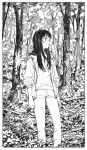 12v 1girl black_hair forest highres ink_(medium) jacket long_hair looking_up monochrome nature original solo traditional_media