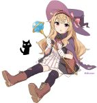 1girl :o bag black_cat black_dress black_legwear blonde_hair boots brooch brown_footwear cape cat dress gloves hat holding holding_staff jewelry little_witch_nobeta long_hair nobeta open_mouth purple_headwear red_eyes shisoneri shoulder_bag simple_background sitting solo staff thigh-highs white_background white_gloves witch witch_hat