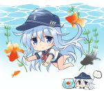 1girl anchor_symbol black_headwear black_sailor_collar blue_eyes blue_swimsuit chibi commentary_request fish fish_tank flat_cap freediving goldfish hat hibiki_(kantai_collection) hizuki_yayoi imagining kantai_collection long_hair sailor_collar sailor_shirt school_swimsuit school_uniform serafuku shirt silver_hair swimsuit swimsuit_under_clothes underwater