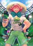 1boy :d closed_eyes clouds commentary_request day freckles gloves green_shorts hand_on_hip hand_up hat holding holding_poke_ball leaf leaves_in_wind mitama_(mokochiko) open_mouth partly_fingerless_gloves pink_hair poke_ball poke_ball_(basic) pokemon pokemon_(game) pokemon_swsh print_shirt shirt short_sleeves shorts single_glove sky smile solo stadium sun_hat teeth tongue yarrow_(pokemon)