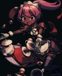 1girl allen_(makaroll) apron artist_name bangs black_background black_legwear blurry blush brown_eyes checkerboard_cookie commentary cookie cup dark_skin depth_of_field dress drink dropping eyebrows_behind_hair feet_out_of_frame floating_hair food frilled_apron frills gloves hair_between_eyes leaning_forward long_hair maid maid_dress maid_headdress napkin open_mouth outstretched_arms outstretched_hand phantom_rose pink_hair plate ponytail red_dress saucer short_dress short_sleeves solo standing standing_on_one_leg surprised teacup teapot tearing_up thigh-highs tripping verona_(phantom_rose) waist_apron walking white_apron white_gloves zettai_ryouiki