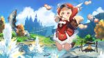 1girl :p arms_up backpack bag bag_charm bangs blonde_hair blue_sky blush bomb brown_footwear cabbie_hat campfire charm_(object) day dress facing_viewer fish genshin_impact hat highres klee_(genshin_impact) long_hair outdoors raijuu_(bakanara) randoseru red_dress red_headwear sky smile solo tongue tongue_out water white_feathers