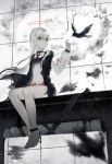 1girl absurdres anklet barefoot bird blood bloody_clothes broken broken_chain chain green_eyes grey_theme halo highres jewelry long_hair long_sleeves original raven_(animal) sitting spot_color white_hair windworker