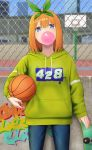 1girl bangs basketball blue_eyes blush bubble_blowing chewing_gum go-toubun_no_hanayome graffiti green_ribbon hair_between_eyes hair_ribbon looking_at_viewer nakano_yotsuba number_pun orange_hair ribbon short_hair skate_park skateboard solo sweater tsuchifumazu