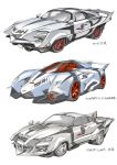 car ford ford_mustang ground_vehicle highres honeybonesmaeda lamborghini lamborghini_egoista motor_vehicle no_humans pointer_(ultra_seven) redesign tokusatsu ultra_series ultra_seven_(series) vehicle_focus white_background