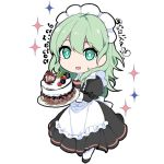 1girl byleth_(fire_emblem) byleth_(fire_emblem)_(female) cake dated fire_emblem fire_emblem:_three_houses food green_eyes green_hair holding ijiro_suika long_sleeves maid maid_headdress open_mouth simple_background solo twitter_username white_background