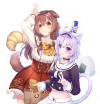 2girls :3 animal_ears black_choker blush bone_hair_ornament can cartoon_bone cat_ears cat_girl cat_tail chocolate_cornet choker collar cowboy_shot dog_ears dog_girl dog_tail food highres hololive inugami_korone looking_at_viewer midriff multiple_girls navel nekomata_okayu neyubi onigiri red_bull smile tail taiyaki virtual_youtuber w wagashi