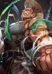 1boy american_flag blonde_hair capcom_cup clenched_hands dog_tags energy_ball flattop guile hankuri male_focus muscle shoulder_tattoo solo sonic_boom street_fighter street_fighter_v tank_top tattoo umehara_daigo