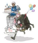 1girl 2boys anniversary apron armor balloon black_hair cake closed_eyes closed_mouth copyright_name dark_skin dark_skinned_male dated dedue_molinaro dress fire_emblem fire_emblem:_three_houses food gloves grey_hair hair_over_one_eye hat highres hilda_valentine_goneril holding holding_plate hubert_von_vestra long_hair long_sleeves multiple_boys open_mouth party_hat party_whistle pink_hair plate ponytail red_gloves short_hair simple_background smile tuchimids twitter_username white_background white_gloves