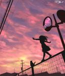1girl artist_name balancing bulding cat dated fence highres mirror original outdoors power_lines scenery silhouette sky sunset yuruyume1224