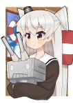 1girl amatsukaze_(kantai_collection) ataru_(ataru-littlebird) blue_sky brown_dress brown_eyes clouds commentary_request dress hair_tubes highres kantai_collection lifebuoy long_hair rensouhou-kun sailor_collar sailor_dress silver_hair sky smile smokestack_hair_ornament two_side_up upper_body white_sailor_collar windsock